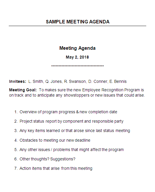 Sample Meeting Agenda with Explanatory Notes Work To The Wise